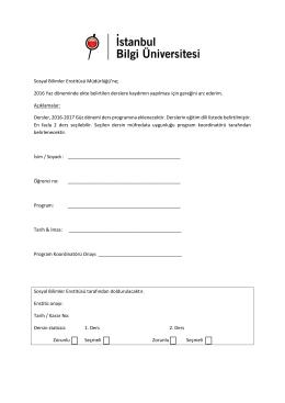 Ders Kayıt Formu