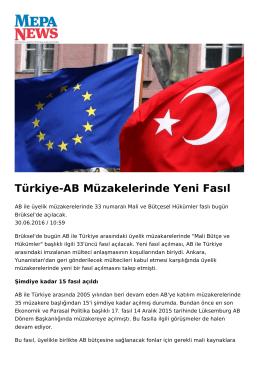 Türkiye-AB Müzakelerinde Yeni Fasıl