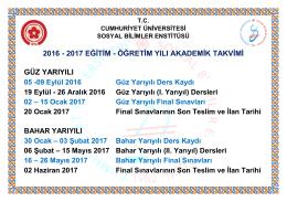 2016 - 2017 eğitim - Cumhuriyet Üniversitesi Sosyal Bilimler