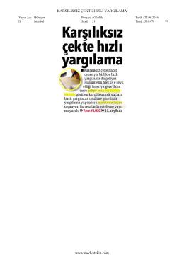 KARSILIKSIZ ÇEKTE HIZLI YARGILAMA www.medyatakip.com