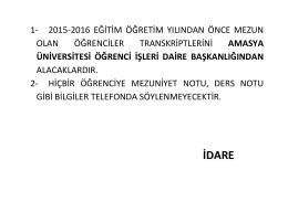 idare - Amasya Üniversitesi