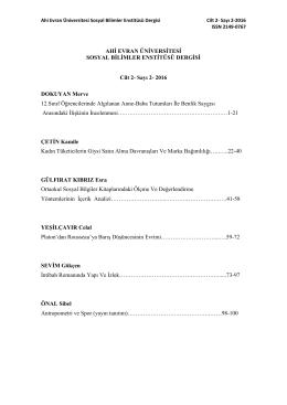 Cilt 2, Sayı 2, 2016 - Ahi Evran Üniversitesi Sosyal Bilimler Enstitüsü