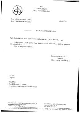Page 1 T.C. - KİLİSVALİLİĞİ Il Millî Eğitim Müdürlüğü Sayı