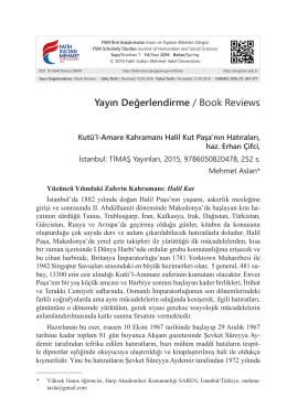 Makaleyi Yazdır - FSM Vakıf Üniversitesi Dergileri