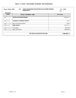 5.5 bütçe gelirlerinin ekonomik sınıflandırılması tablosu