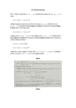 alt vektör uzayları örnek örnek
