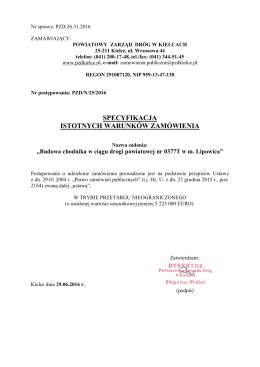 Specyfikacja - Powiatowy Zarząd Dróg w Kielcach