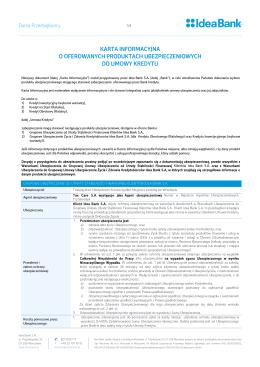 karta informacyjna o oferowanych ubezpieczeniach do