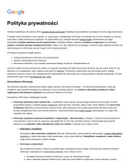 Polityka prywatności – Prywatność i warunki – Google