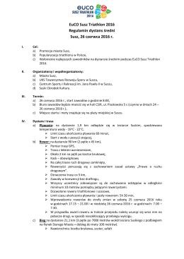 EuCO Susz Triathlon 2016 Regulamin dystans średni Susz, 26