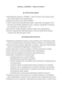 """Konkurs """"STABILO – Game of Colors"""" §1 Informacje ogólne 1"""