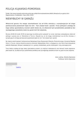 POLICJA KUJAWSKO-POMORSKA NIEWYBUCHY W GARAŻU