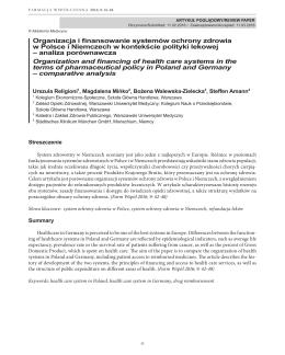 Organizacja i finansowanie systemów ochrony zdrowia w Polsce i