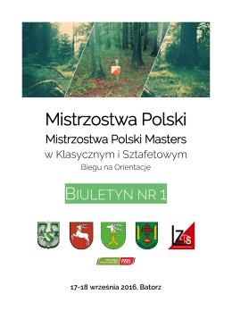 Biuletyn nr 1 - Mistrzostwa Polski i Mistrzostwa Polski Masters w