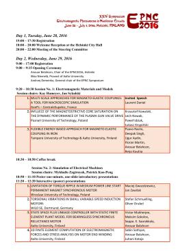 EPNC 2016 – Detailed program