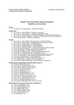 senat politechniki wrocławskiej kadencji 2016-2020