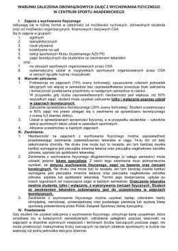 Warunki zaliczenia - Centrum Sportu Akademickiego