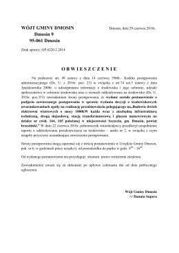 WÓJT GMINY DMOSIN Dmosin 9 95-061 Dmosin