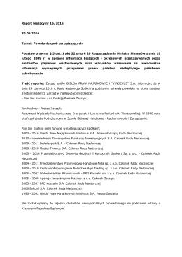 Raport bieżący nr 16/2016 - Giełda Praw Majątkowych Vindexus SA