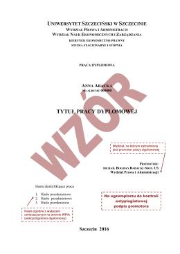 Strona tytułowa pracy magisterskiej
