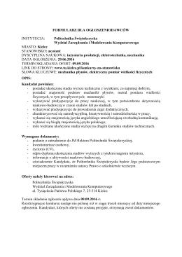 formularz dla ogłoszeniodawców - Politechnika Świętokrzyska