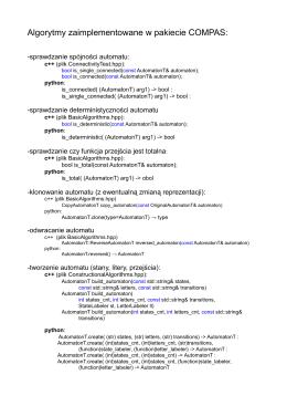 Algorytmy zaimplementowane w pakiecie COMPAS
