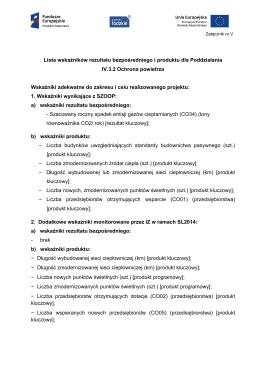 Lista wskaźników rezultatu bezpośredniego i produktu dla