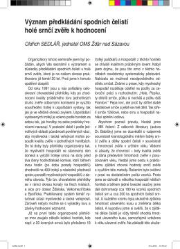 Význam předkládání spodních čelistí holé srnčí zvěře k hodnocení