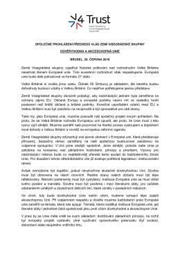 Společné prohlášení předsedů vlád zemí Visegrádské skupiny