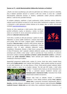 Tisková zpráva - Festival Strážnice