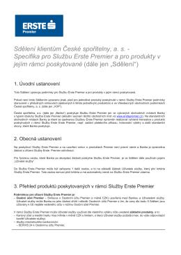 Sdělení – Specifika pro službu Erste Premier