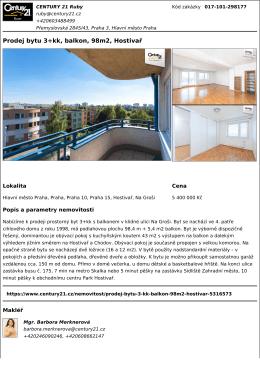 Prodej bytu 3+kk, balkon, 98m2, Hostivař