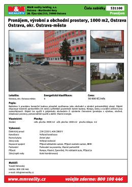 Pronájem, výrobní a obchodní prostory, 1000 m2, Ostrava Ostrava