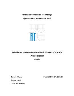 Jak na projekt (příručka pro studenty IFJ/IAL)