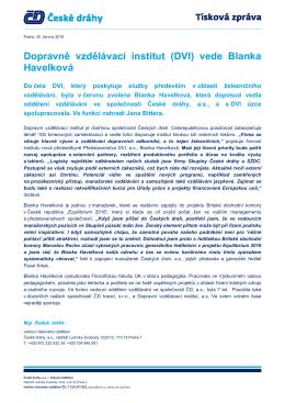 Dopravně vzdělávací institut (DVI) vede Blanka Havelková