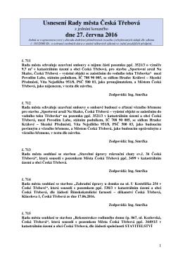 Usnesení Rady města Česká Třebová z jednání konaného dne 27
