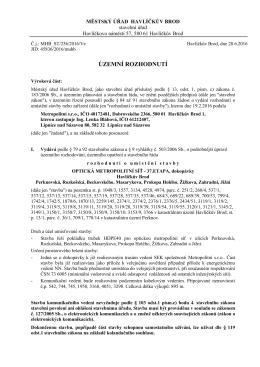 Rozhodnutí o umístění stavby - Optická Metropolitní