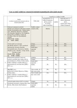 Ceny za stání vozidel na vymezených místních komunikacích nebo