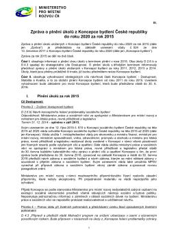 Zpráva o plnění koncepce v roce 2015