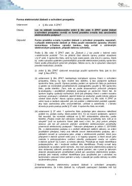 Forma elektronické žádosti o schválení prospektu