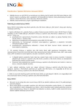 Pravidla akce: Sjednání ING Konta s bonusem 500 Kč