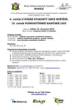 Sbor dobrovolných hasičů Roštění 6. ročník O POHÁR STAROSTY