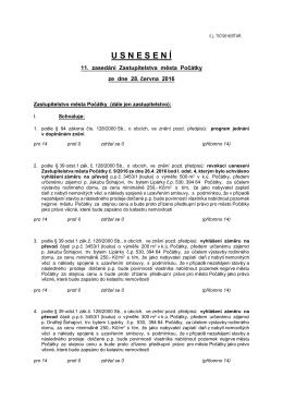 Usnesení 11. zasedání Zastupitelstva města Počátky ze dne 28