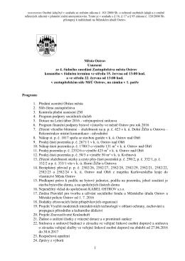 Usnesení ze 4. řádného zasedání Zastupitelstva města Ostrov.