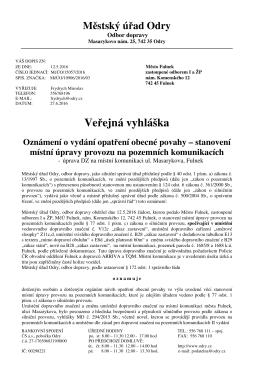 Úprava DZ na místní komunikaci ul. Masarykova, Fulnek