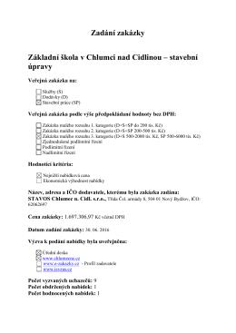 Zadání zakázky Základní škola v Chlumci nad Cidlinou – stavební