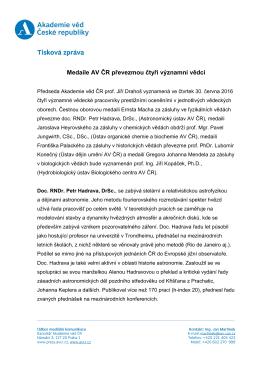 Medaile AV ČR převezmou čtyři významní vědci