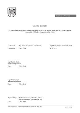 Zápis a usnesení 37. schůze Rady města Mostu ve funkčním období