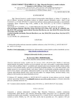 Exekutorský úřad Břeclav: Usnesení Č.j. 160 EX 446/16-108