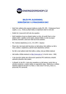 balík ppl slovensko, doru ení do 1-2 pracovních